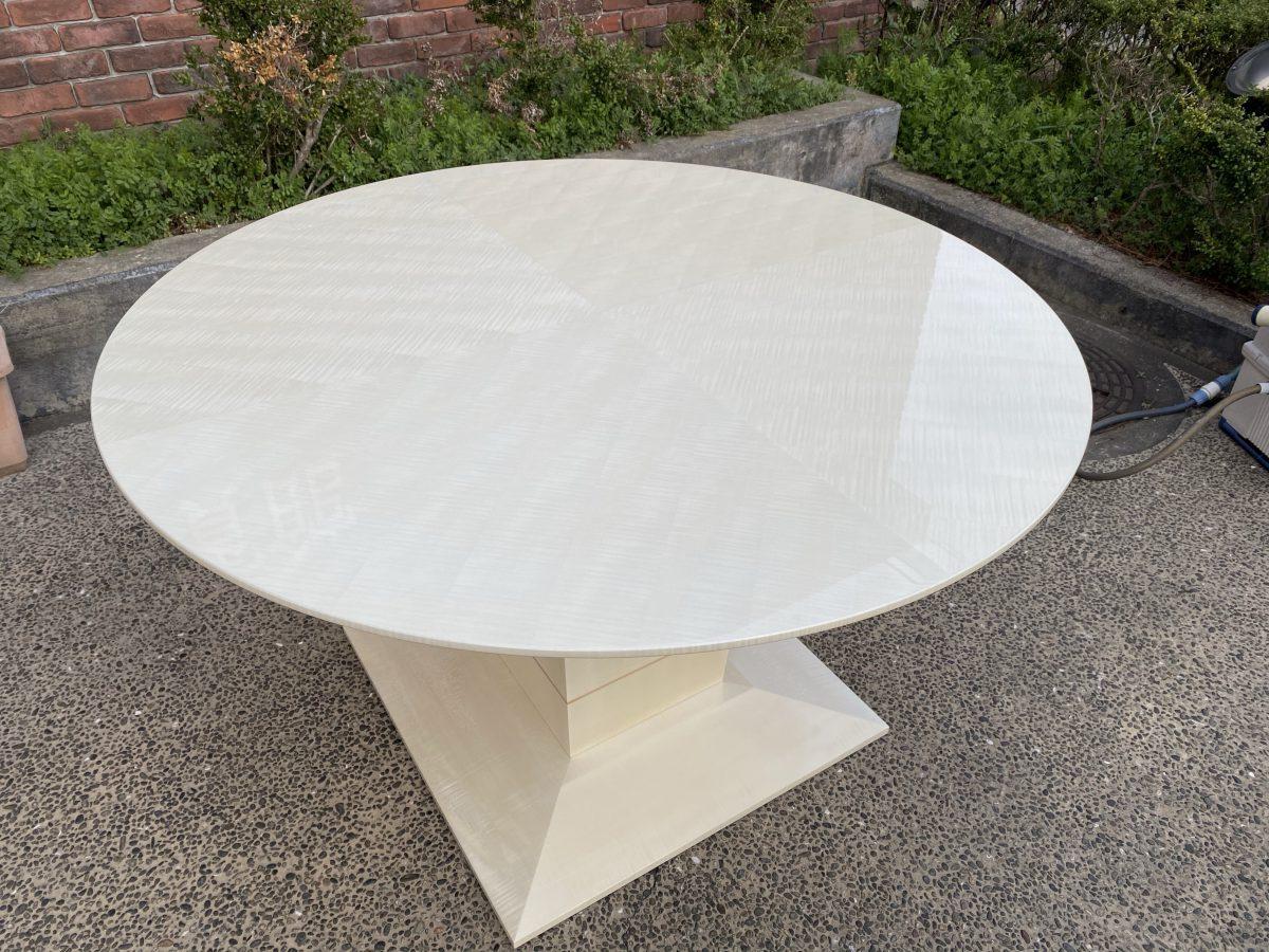 松創・シカモアミガキ仕様の丸テーブル・マリーンNo.2