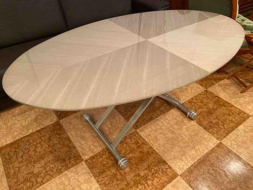 松岡家具製造・バスウッドミガキ仕様のオリジナル昇降テーブル