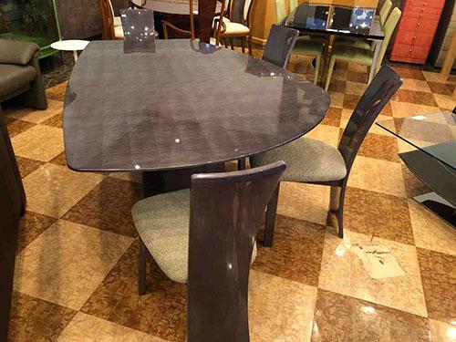 松創・シカモアミガキ仕様の変形テーブルセット